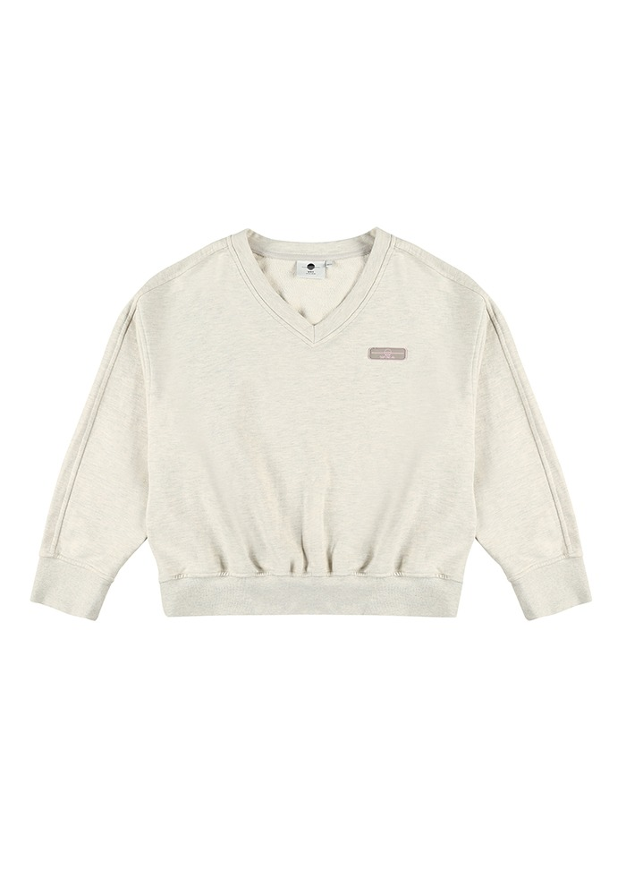 SIDE LINE V-NECK SWEATSHIRT_OATMEAL
