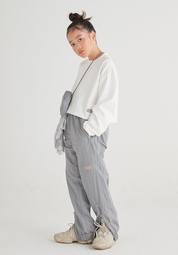 ZIPPER TRACK PANTS_Grey(Pink Rubber Wappen)