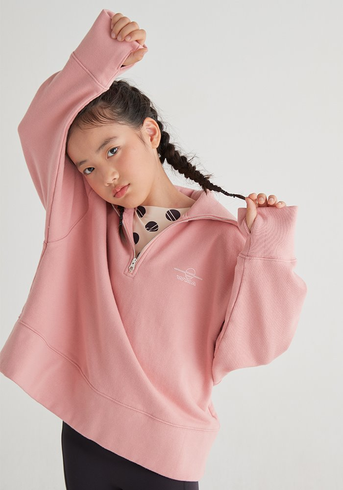 HALF ZIP-UP SWEATSHIRT_Pink