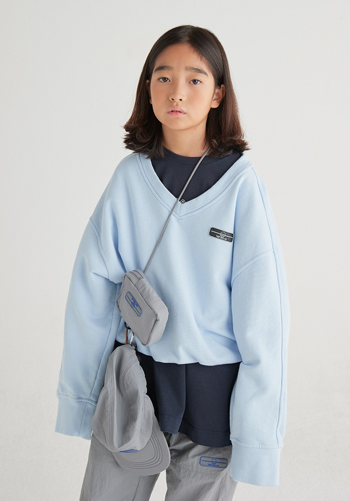 SIDE LINE V-NECK SWEATSHIRT_SkyBlue