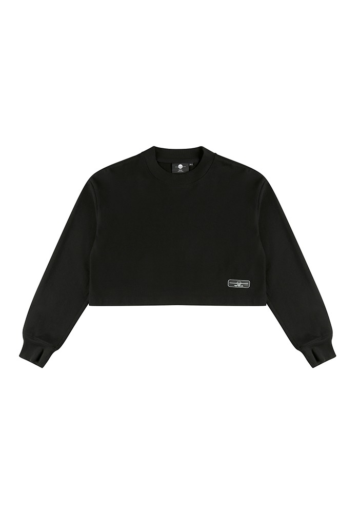 WMALLOW RUBBER WAPPEN CROP T-SHIRT_Black